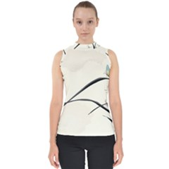 White Drawing Abstract Butterfly  Shell Top