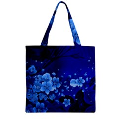 Floral Design, Cherry Blossom Blue Colors Zipper Grocery Tote Bag by FantasyWorld7