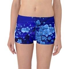 Floral Design, Cherry Blossom Blue Colors Boyleg Bikini Bottoms by FantasyWorld7