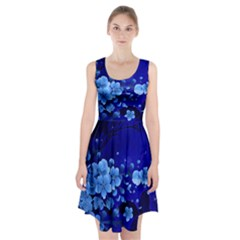 Floral Design, Cherry Blossom Blue Colors Racerback Midi Dress by FantasyWorld7