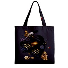 Typewriter Skull Witch Snake  Zipper Grocery Tote Bag