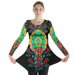 Rain Meets Sun In Soul And Mind Long Sleeve Tunic  by pepitasart
