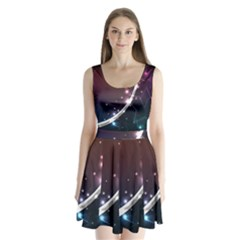 Lines Rays Glare Star Light Shadow  Split Back Mini Dress  by amphoto