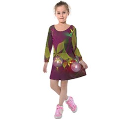 Drawing Abstract Ball Kids  Long Sleeve Velvet Dress by amphoto
