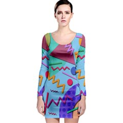 Memphis #10 Long Sleeve Bodycon Dress by RockettGraphics