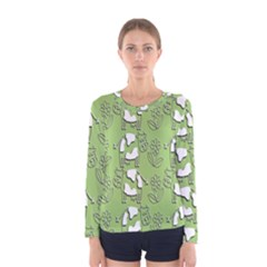 Cow Flower Pattern Wallpaper Women s Long Sleeve Tee by Nexatart
