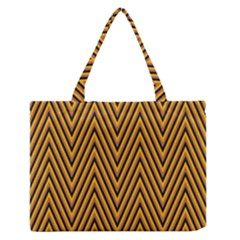 Chevron Brown Retro Vintage Zipper Medium Tote Bag by Nexatart