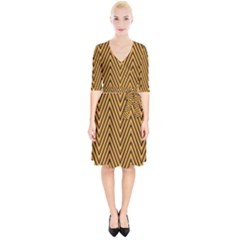 Chevron Brown Retro Vintage Wrap Up Cocktail Dress