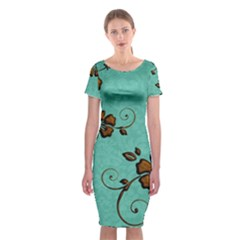 Chocolate Background Floral Pattern Classic Short Sleeve Midi Dress