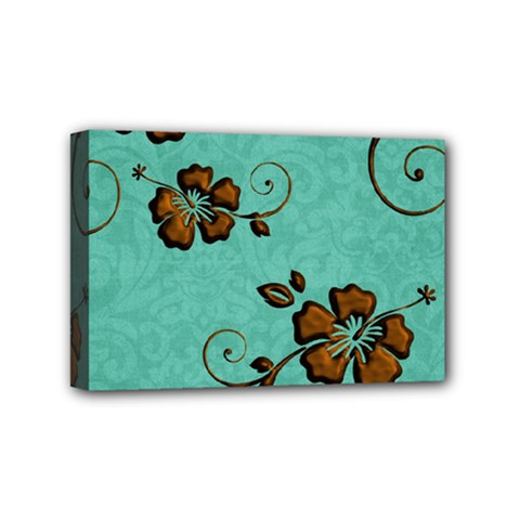 Chocolate Background Floral Pattern Mini Canvas 6  X 4  by Nexatart