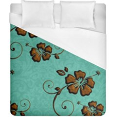 Chocolate Background Floral Pattern Duvet Cover (california King Size)