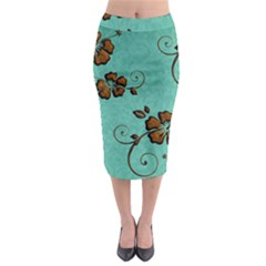 Chocolate Background Floral Pattern Midi Pencil Skirt by Nexatart