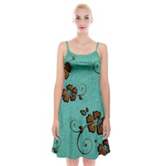 Chocolate Background Floral Pattern Spaghetti Strap Velvet Dress