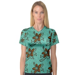 Chocolate Background Floral Pattern V Neck Sport Mesh Tee