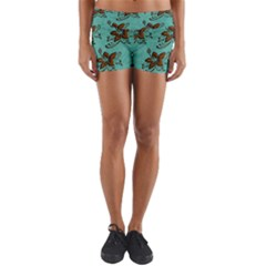 Chocolate Background Floral Pattern Yoga Shorts by Nexatart