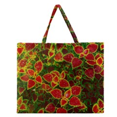 Flower Red Nature Garden Natural Zipper Large Tote Bag