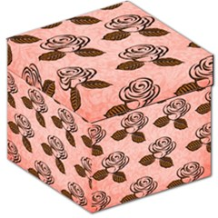 Chocolate Background Floral Pattern Storage Stool 12