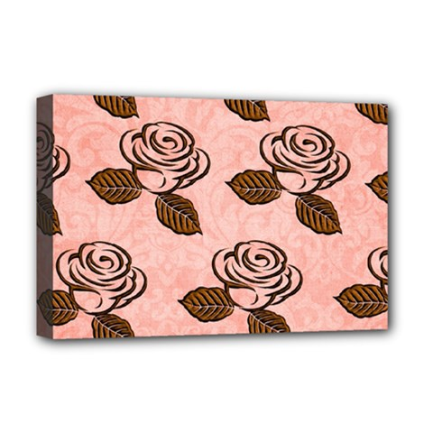 Chocolate Background Floral Pattern Deluxe Canvas 18  X 12
