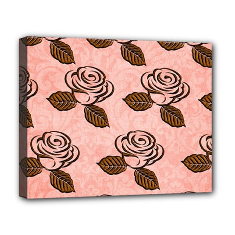 Chocolate Background Floral Pattern Deluxe Canvas 20  X 16