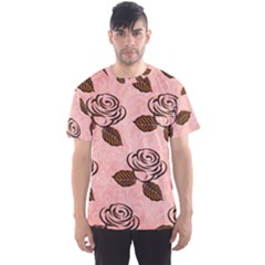 Chocolate Background Floral Pattern Men s Sports Mesh Tee