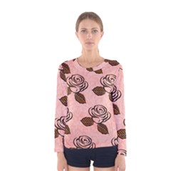Chocolate Background Floral Pattern Women s Long Sleeve Tee by Nexatart