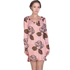 Chocolate Background Floral Pattern Long Sleeve Nightdress