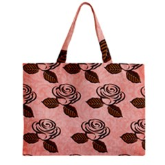 Chocolate Background Floral Pattern Zipper Mini Tote Bag by Nexatart