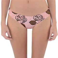 Chocolate Background Floral Pattern Reversible Hipster Bikini Bottoms