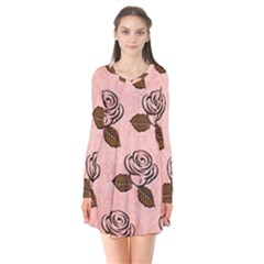 Chocolate Background Floral Pattern Flare Dress