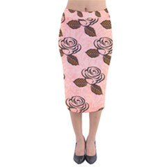 Chocolate Background Floral Pattern Velvet Midi Pencil Skirt