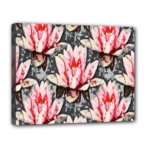 Water Lily Background Pattern Canvas 14  X 11