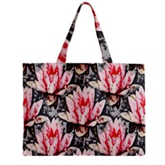 Water Lily Background Pattern Zipper Mini Tote Bag by Nexatart