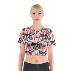 Water Lily Background Pattern Cotton Crop Top