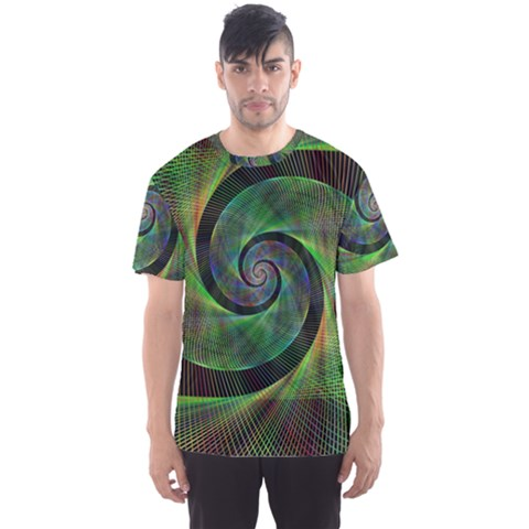 Green Spiral Fractal Wired Men s Sports Mesh Tee by Nexatart