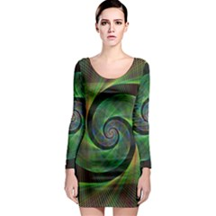 Green Spiral Fractal Wired Long Sleeve Bodycon Dress by Nexatart