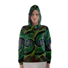 Green Spiral Fractal Wired Hooded Wind Breaker (women)