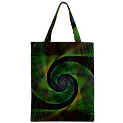 Green Spiral Fractal Wired Zipper Classic Tote Bag
