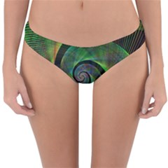 Green Spiral Fractal Wired Reversible Hipster Bikini Bottoms