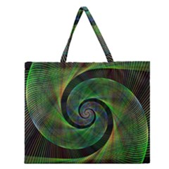 Green Spiral Fractal Wired Zipper Large Tote Bag