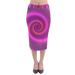 Pink Background Neon Neon Light Velvet Midi Pencil Skirt