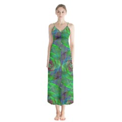Fractal Spiral Swirl Pattern Button Up Chiffon Maxi Dress