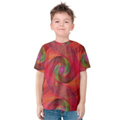 Red Spiral Swirl Pattern Seamless Kids  Cotton Tee
