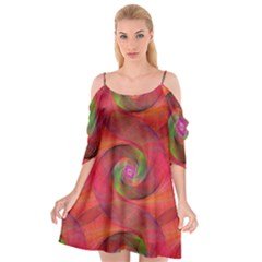 Red Spiral Swirl Pattern Seamless Cutout Spaghetti Strap Chiffon Dress by Nexatart