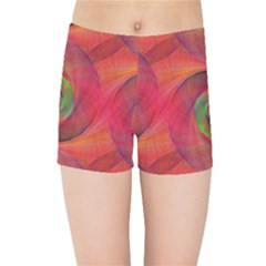 Red Spiral Swirl Pattern Seamless Kids Sports Shorts by Nexatart