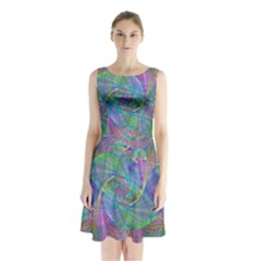 Spiral Pattern Swirl Pattern Sleeveless Waist Tie Chiffon Dress by Nexatart