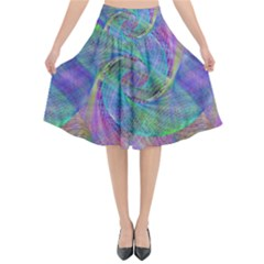 Spiral Pattern Swirl Pattern Flared Midi Skirt