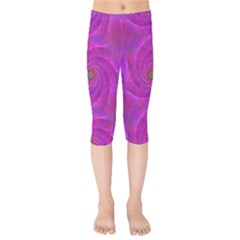 Pink Abstract Background Curl Kids  Capri Leggings