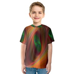 Ellipse Fractal Orange Background Kids  Sport Mesh Tee