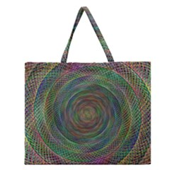 Spiral Spin Background Artwork Zipper Large Tote Bag