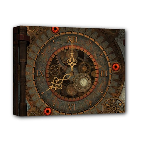 Steampunk, Awesome Clocks Deluxe Canvas 14  X 11  by FantasyWorld7